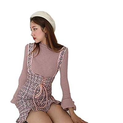 Womens High Waist Plaid Skirts Kawaii Cute Sweet Ruffle Suspender Skirts