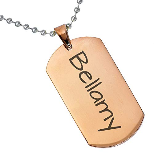 Tungsten King Stainless Steel Baby Name Bellamy Engraved Rose Gold Plated Gifts for Son Daughter Parent Friends Significant Other Initial Quote Customizable Pendant Necklace Dog Tags 24'' Ball - Photo Bellamy