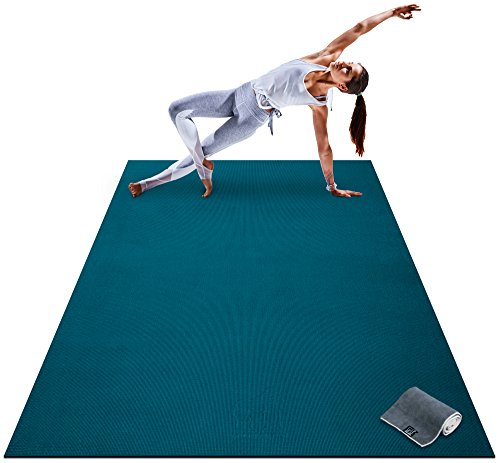 Premium Large Yoga Mat – 7′ x 5′ x 8mm Extra Thick, Ultra Comfortable, Non-Toxic, Non-Slip, Barefoot Exercise Mat – Yoga, Stretching, Cardio Workout Mats for Home Gym Flooring (84″ Long x 60″ Wide) Review