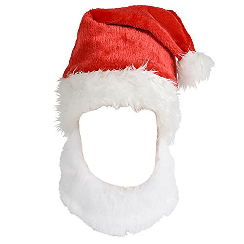 4E's Novelty Christmas Santa Claus Hat With Beard, White Beard Attached To To Red Hat - 15