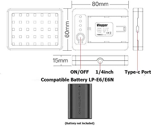 ANDYCINE CL-EL15 Palm Size Dimmable Led Light and USB Travel Battery Chargers for Nikon EN-EL15 Battery