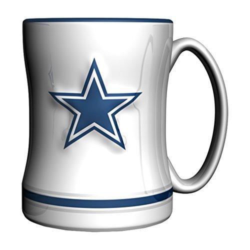 Boelter Brands NFL Dallas Cowboys Sculpted Relief Mug Alternate Color, 14-Ounce, White