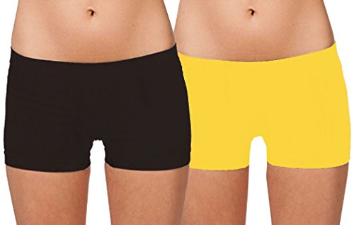 Yellow Spandex - Hollywood Star Fashion Women's Short Length Slipshort Dance Short (One Size, 2 Pack: Charcoal & Yellow)