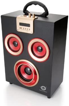 Conceptronic Wireless Party - Altavoces de 11 W (USB, Bluetooth), negro y rojo