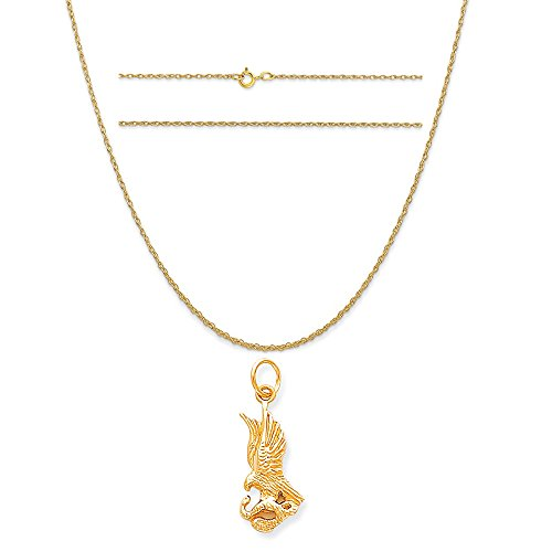 10k Yellow Gold Solid Polished Eagle with Serpent Charm on 14K Yellow Gold Rope Necklace, ()