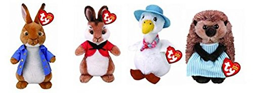 TY Peter Rabbit Set - Peter, Flopsy, Jemima Puddle-Duck & Mrs Tiggy-Winkle!! 4 x TY Beanies 6