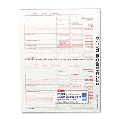 Tops 2016   5 Part Miscellaneous 1099 Tax Forms For Laser Printers 50 Pack  22993