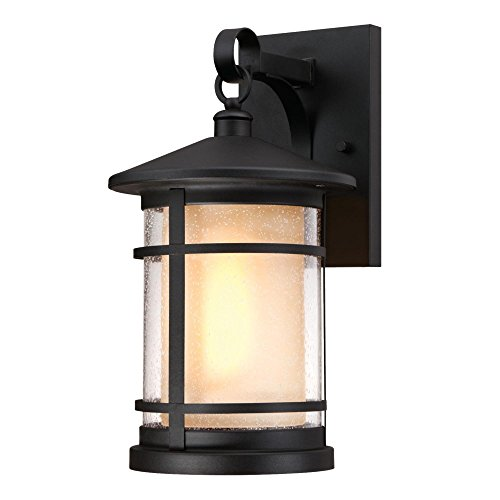 Westinghouse 6312500 Albright One-Light Outdoor Large Wall Lantern with Amber Frosted and Clear Seeded Glass, Textured (Black Large Wall Lantern)