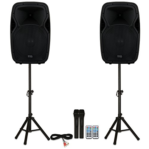 "Acoustic Audio AA15BS Powered 2000 Watts 15"" Bluetooth Speakers with Batteries Wireless Mics and Stands"