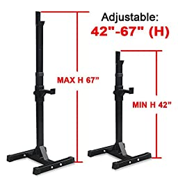 Zeny Set of 2 Adjustable Standard Solid Steel Squat Stands Gym Barbell Rack Free Bench Press Stands (#1)