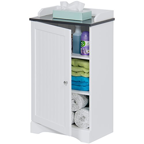 Best Choice Products Modern Contemporary Bathroom Floor Storage Organizer Cabinet w/ 3 Shelves, Versatile Door - White ()
