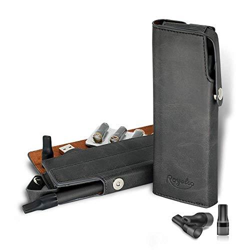 SHIODOKI Genuine Leather Vape Pen Accessories Kit Vitamin Vape Bag Aromatherapy Inhaler Pouch Holder, Secure Fit, Cord Storage, G Pen Soft Travel Bag (Black) (Vapor Case Cigarette Aspire)