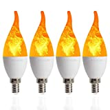 4 Pack LED Fire Flicker Flame Candelabra Light Bulb, E12 2W Flickering Effect 3 Lighting Modes Simulated Emulation/General/Breathing, for Indoor Outdoor Decorations Home Hotel Bar Party - Bent Tip
