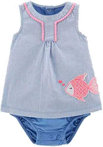 Carter s Infant Girls Stripe Blue Fish Romper Layered Bodysuit Baby Outfit  3m 0fc13814b