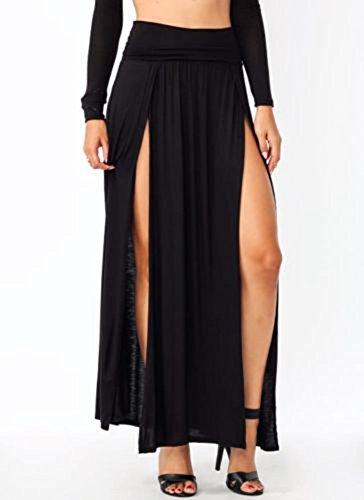 Style Creek Women's High Waist Double Slit Maxi Skirt