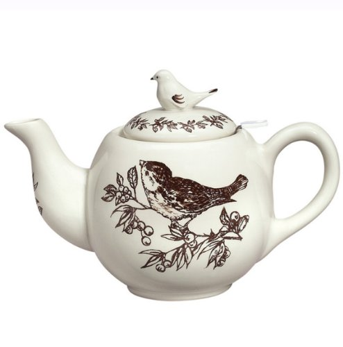 J. Willfred Brown Bird Toile Teapot with Strainer