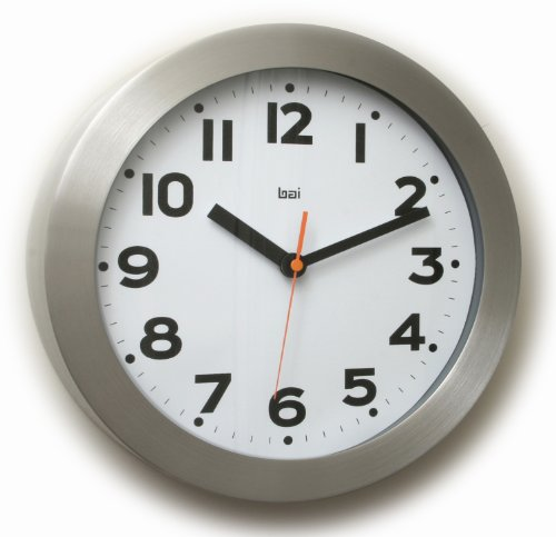 Bai Brushed Aluminum Wall Clock, Mega White