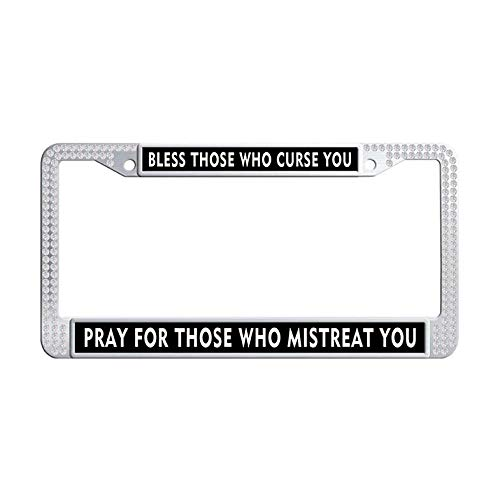 Nuoousol Jesus Christ Quotes,Bible Verses White Glitter Rhinestones License Plate Frame, Trust in God,Trust Also in Me Crystal License Cover Holder with 2 Holes Screws Caps Set(6' x 12' in)