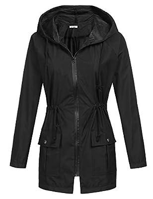 BEAUTEINE Womens' Waterproof Raincoat Lightweight Rainjacket Outwear Hooded Running Windbreaker