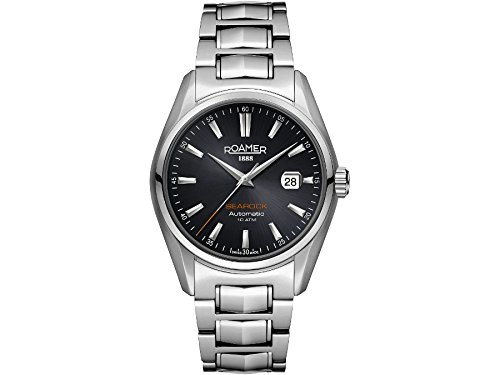 Roamer Searock Men's Automatic Watch with Black Dial Analogue Display and Silver Stainless Steel Bracelet 210633 41 55 20