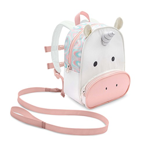 Travel Bug Toddler Safety Unicorn Backpack Harness with Removable Tether, Pink/White
