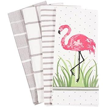 Pantry Flamingo Kitchen Dish Towel Set of 4, 100-Percent Cotton, 18 x 28-inch