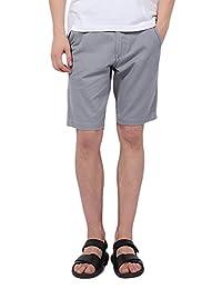 Pau1Hami1ton PH-01 Men's Classic Slim-Fit Flat-Front Twill Casual Chino Shorts