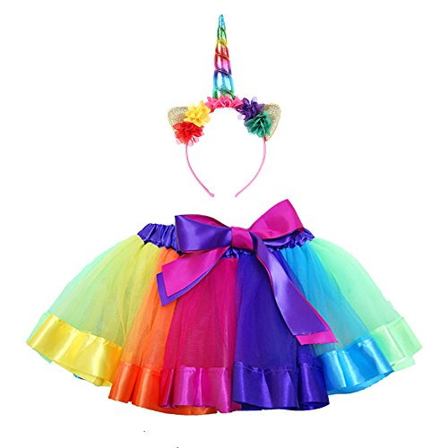 Maticr Kids Rainbow Tulle Tutu Bow Tie Skirt & Unicorn Flower Headband Girls Costume Kit (Rainbow, Medium) - Cute Little Elf Costume