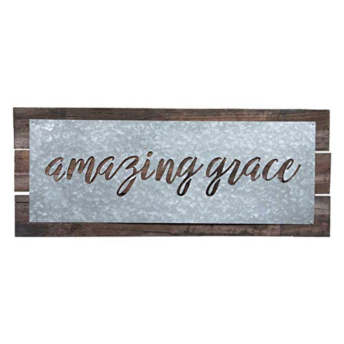 Brownlow Gifts Galvanized Metal Plate Sign on Wood-Plank Base Wall Décor 22 x 9-Inches Amazing Grace