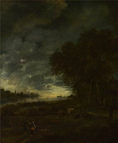 [Oil Painting 'Aert Van Der Neer - A Landscape With A River At Evening,about 1650' 20 x 24 inch / 51 x 62 cm , on High Definition HD canvas prints is for Gifts And Bar, Home Office And Nursery] (Mail Order Bride Adult Costumes)
