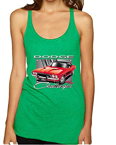 Dodge Challenger R/T Classic Licensed Retro | Womens Cars and Trucks Premium Tri-Blend Racerback Tank Top, Envy, X-Large