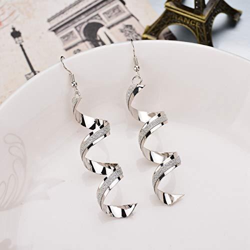 (KUUCOL Exquisite Threader Dangle Earrings Curve Twist Shape Spiral Stud for Women Girl (silver))