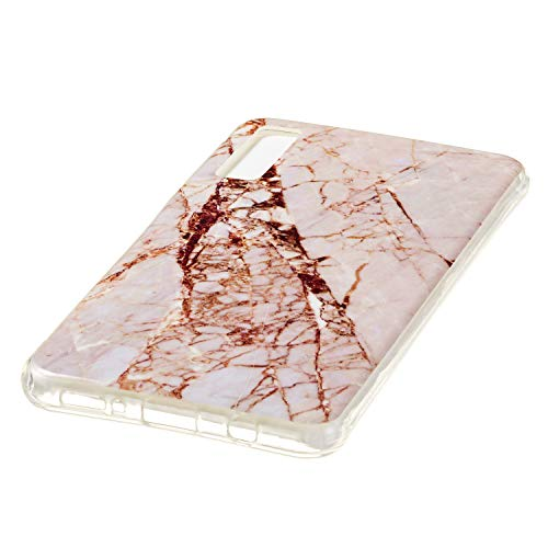 for Samsung Galaxy A7 2018 (A750) Marble Case with Screen Protector,Unique Pattern Design Skin Ultra Thin Slim Fit Soft Gel Silicone Case,QFFUN Shockproof Anti-Scratch Protective Back Cover - White by QFFUN (Image #3)