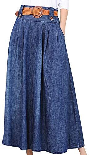 Vocni Women Vintage A Line Flared Elastic Waist Denim Jeans Long Skirt (US M-Asian Label 3XL, Blue) (Denim Jeans Blue Flared)