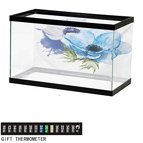 (Aquarium Background,Anemone Flower,Rustic Floral Design with Blooms in Watercolors Splashes,Lavender Pale Blue Green Fish Tank Backdrop 48