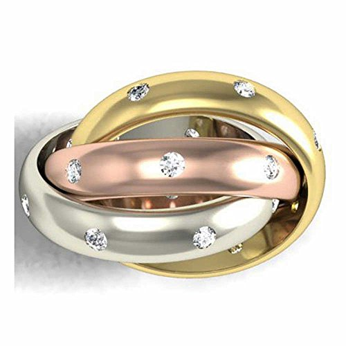 024ct-TDW-White-Diamonds-14K-Tri-Color-Gold-Rolling-Womens-Wedding-Band-G-H-SI1-SI2-4mm