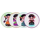 By Mexico Portavasos PVC modelo 4 Indias colores set de 4