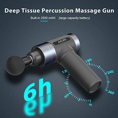 AISZG Massage Gun, Deep Tissue Percussion Muscle Massager for Athletes, Silicone Handle, Electric Body Massager with 5 Adjustable Speeds and 6 Heads, 2500mAh 3