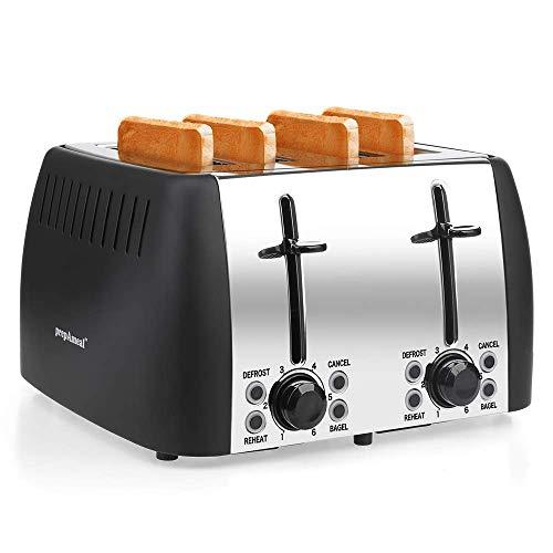 prepAmeal 4 Slice Toaster Stainless Steel Toaster Four Slice Bagel Toaster Small Bake Toaster with 6 Browning Setting, Reheat, Defrost, Bagel, Cancel Function, Extra Wide Slots (Black - 4 Slice)