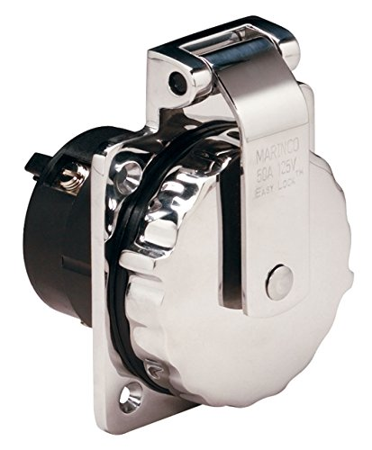 Marinco 6373EL Marine 4-Wire Stainless Steel Locking Power Inlet (50-Amp, 125/250-Volt, Male) Dockside Shore Power Outlet