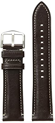 Fossil S221245 22mm Leather Calfskin Dark Brown Watch Strap by Fossil Watch Straps