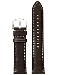 Fossil S221245 22mm Leather Calfskin Dark Brown Watch Strap