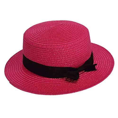 KSDJSA Style Straw Hat for Women Cute Plat Sun Visor Trilby Girls Solid Bow Ribb