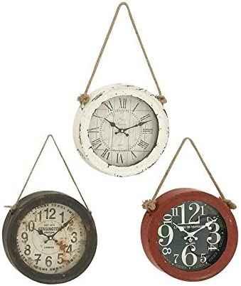 Woodland Imports 52541 Metal Wall Clock Set of 3