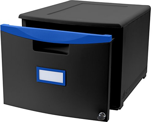 Storex One Drawer Mini File Cabinet with Lock and Casters, 18.25 x 14.75 x 12.75 Inches Legal/Letter, Black/Blue (61269U01C) (Drawer Cabinet 1)