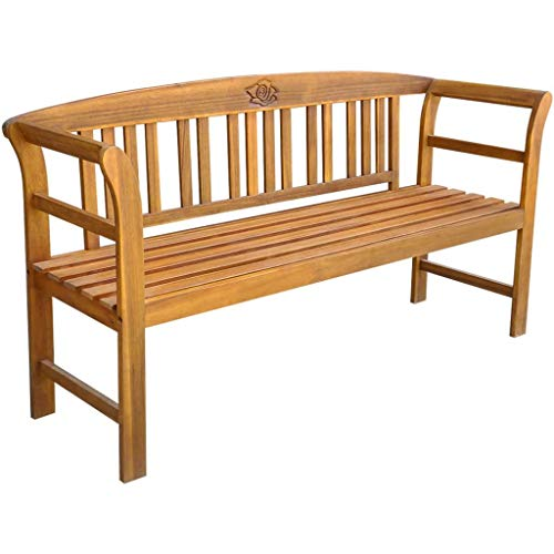 Festnight 3 Seater Outdoor Patio Garden Bench Porch Chair Seat with Backrest and Armrest Wooden Frame Backyard Park Outdoor Furniture 61.8