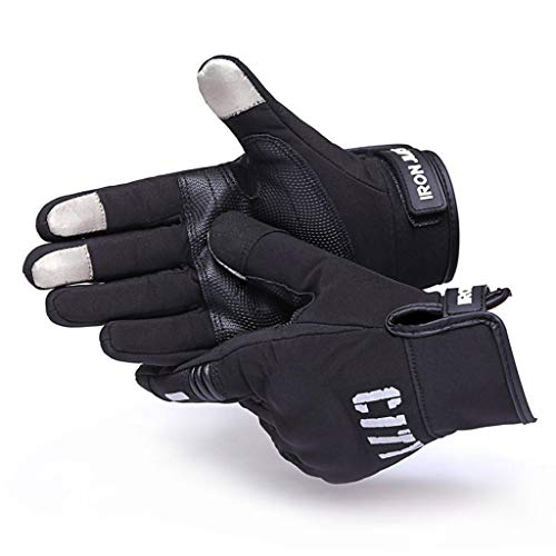 AMCER Touch Screen Motorcycle Gloves Full Finger Protective Motorbike Cycling Gloves with Reflective Sign Anti-Skid Palm Gel Pad - Black XX-Large