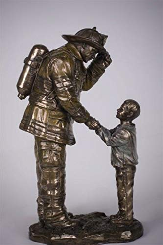 Hero Firefighter Figurine - Ky & Co YesKela Firefighter Fireman Shaking Hand with Small Child Figurine 8.5