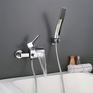 Wall mounted chrome Contempo Roman bathroom waterfall faucet with hand shower by FAUCET&YAMEIJIA