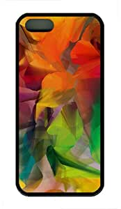 iPhone 5S Case,Colorful Petals TPU Custom iPhone 5/5S Case Cover Black